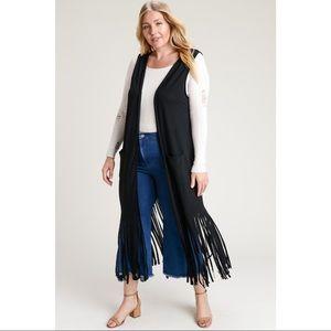 Jackets & Blazers - PLUS Long Fringe Vest Duster Front Pockets T shirt